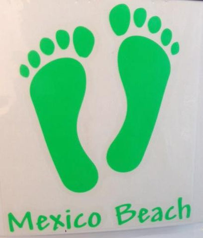 Mexico Beach Foot Prints Decal