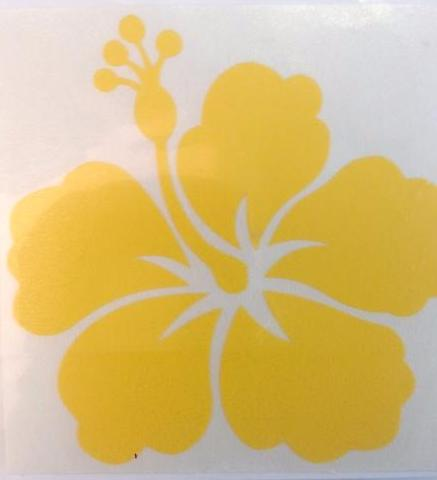 "Yellow Hibiscus Flower Decal 21/2"" x 21/2"""