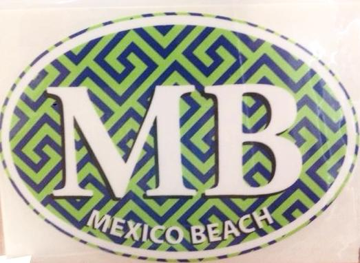 Mexico Beach Green Oval Decal