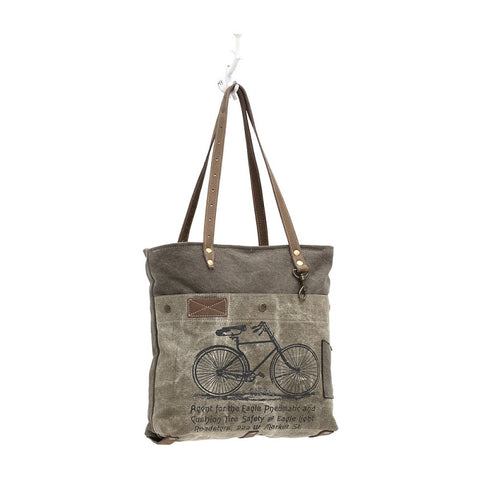 Myra Handbags By-Cycle Print Canvas Tote Bag