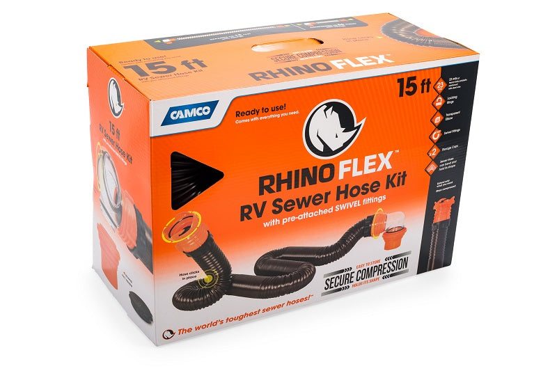 Camco 15' RhinoFlex RV Sewer Hose Kit 39761