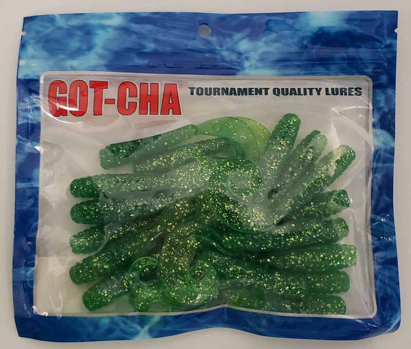 "Sea Striker Got-Cha 4"" Curltail Grub 20pk Lime Green/SF H4CT20-12S"