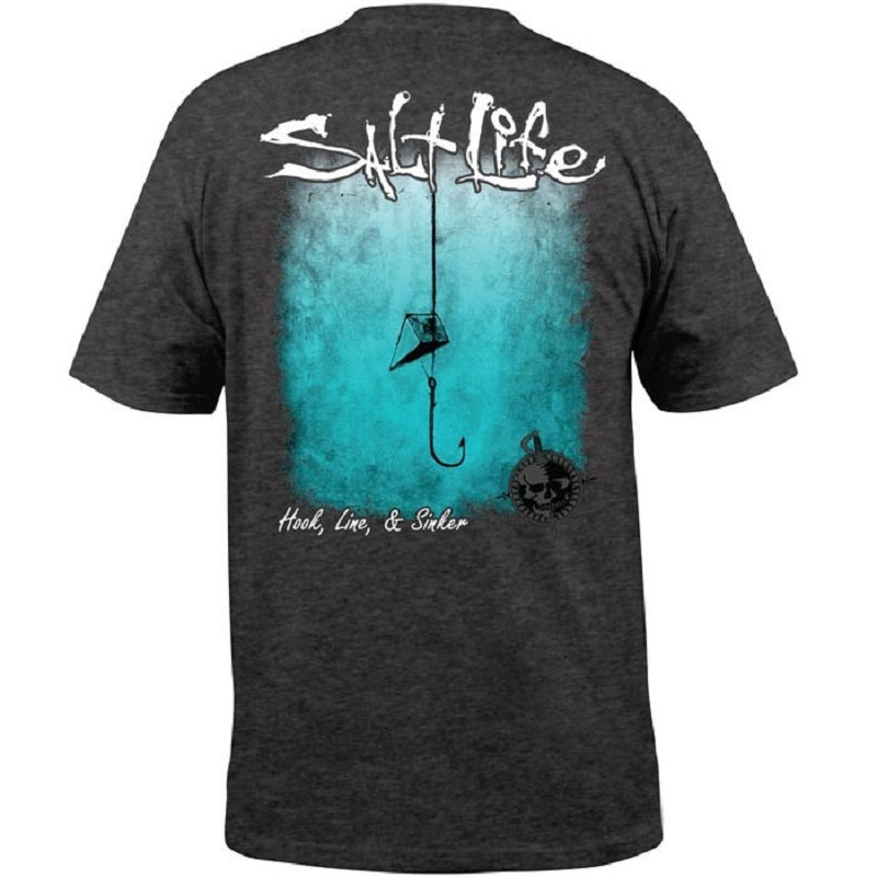 Salt Life Hook Line And Sinker Fade Pocket Tee