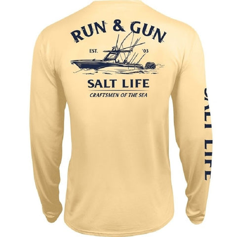 Salt Life Men's Run And Gun Performance Long Sleeve Pocket Tee
