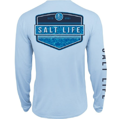 Salt Life Men's Calm Waters Badge Performance Long Sleeve Pocket Tee