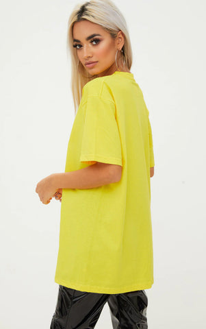 AVOIDING ADULTHOOD - LEMON YELLOW OVERSIZED T SHIRT