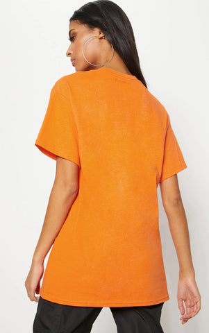 DUBAI MIAMI ROME BAHAMAS - ORANGE OVERSIZED T SHIRT