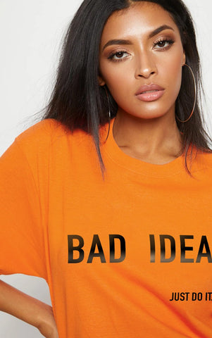 BAD IDEA - ORANGE YELLOW OVERSIZED T SHIRT