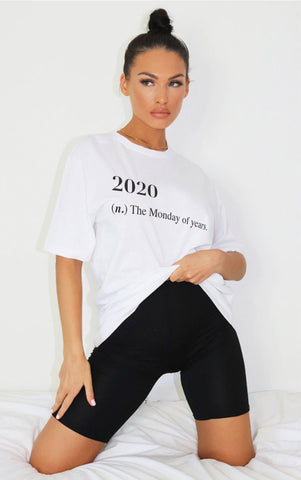 2020 MONDAY - WHITE OVERSIZED T SHIRT