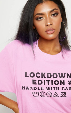 LOCKDOWN BUNNY - PINK OVERSIZED T SHIRT