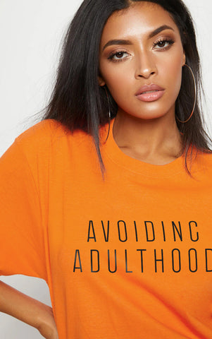 AVOIDING ADULTHOOD - ORANGE OVERSIZED T SHIRT