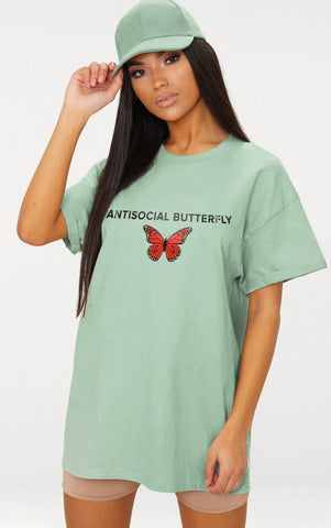ANTISOCIAL BUTTERFLY - MINT OVERSIZED T SHIRT