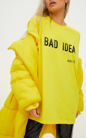 BAD IDEA - LEMON YELLOW OVERSIZED T SHIRT
