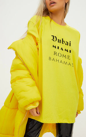 DUBAI MIAMI ROME BAHAMAS - LEMON YELLOW OVERSIZED T SHIRT