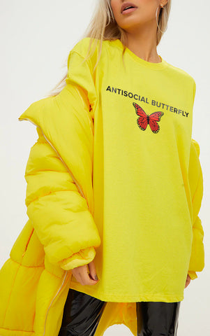 ANTISOCIAL BUTTERFLY - LEMON YELLOW OVERSIZED T SHIRT
