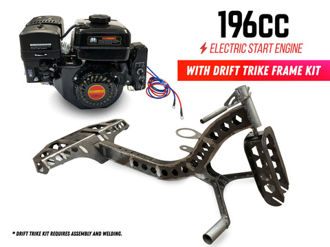 196cc Electric Start Engine with Drift Trike Frame Kit