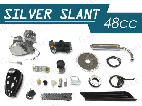 Silver Slant 48cc Gas Motorized Bicycle