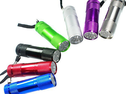 9 White LED Flashlight Multicolored 7-pack (Free Shipping)