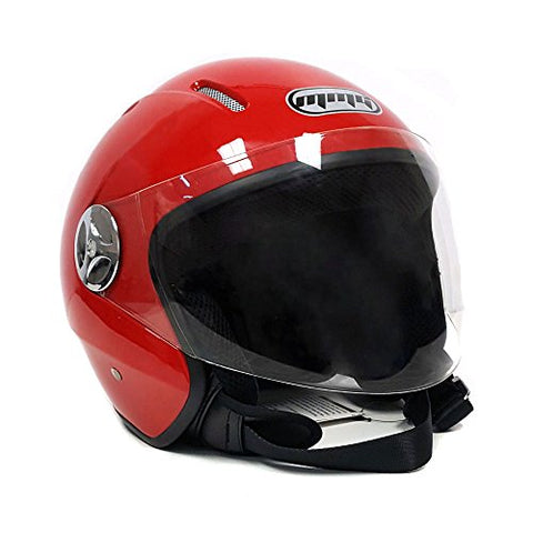 Motorcycle Scooter PILOT Open Face Helmet DOT Certified - RED (Small)