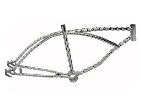 "20"" Twisted Lowrider Frame Chrome. Bike frame, bicycle frame, lowrider bike frame, lowrider bicycle frame"