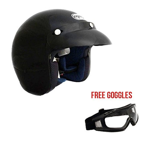MMG 207 - Motorcycle 3/4 Open Face Helmet Snap On Visor Street Cafe Racer D O T - Glossy Black (Large) with Goggles