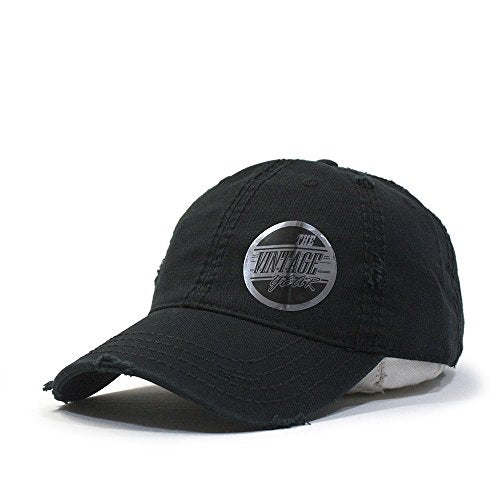 Vintage Year Plain Washed Cotton Twill Distressed With Heavy Stitching Low Profile Adjustable Baseball Cap