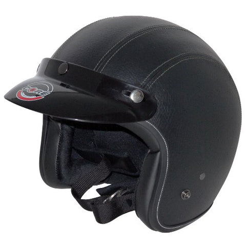 Core Vintage Open Face Helmet (Black Leather, X-Small)