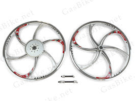 Aluminum Mag Wheels with 44T Sprocket - HY22 (Silver) 80CC Gas Motorized Bicycle