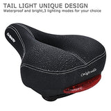 Comfortable Men Women Bike Seat - DAWAY C99 Memory Foam Padded Leather Wide Bicycle Saddle Cushion with Taillight, Waterproof, Dual Spring Designed, Soft, Breathable, Fit Most Bikes, 1 Year Warranty