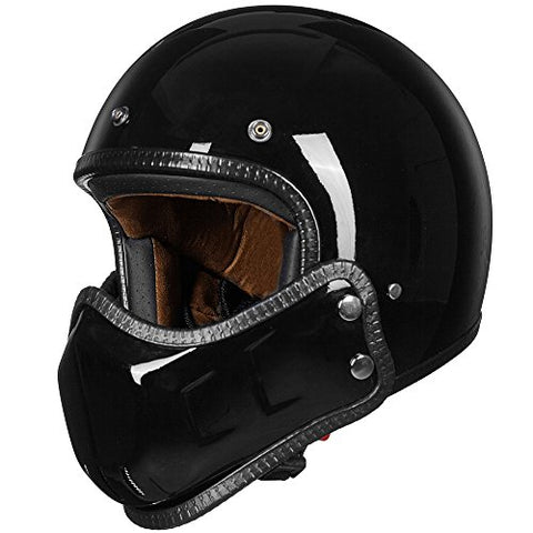 ILM Motorcycle Helmets ATV Dirt Bike Cool Open Face 3/4 Half Helmet With Removable Chin Guard 3 Colors (M, Glossy Black)