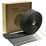"Exhaust Wrap 2"" x 50 Ft Exhaust Heat Wrap Tape Header Glassfiber Wrap Kit for Automotive Motorcycle with 8 Stainless Ties (Black)"