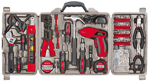 Apollo Tools DT0738 161 Piece Complete Household Tool Kit with 4.8 Volt Cordless Screwdriver and Most Useful Hand Tools and DIY accessories