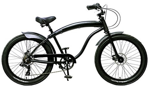 "Fito Men's Modena GT-2 Aluminum Alloy 7-Speed Beach Cruiser Bike, Matte Black, 18"" x 26""/One Size"