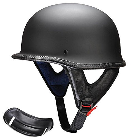 Yescom DOT German Style Motorcycle Half Helmet Open Face Cruiser Chopper Biker Skull Cap Helmet Black M