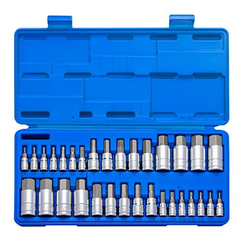 Neiko 10288A Master Hex Bit Socket Set, S2 Steel | 32-Piece Set | SAE and Metric