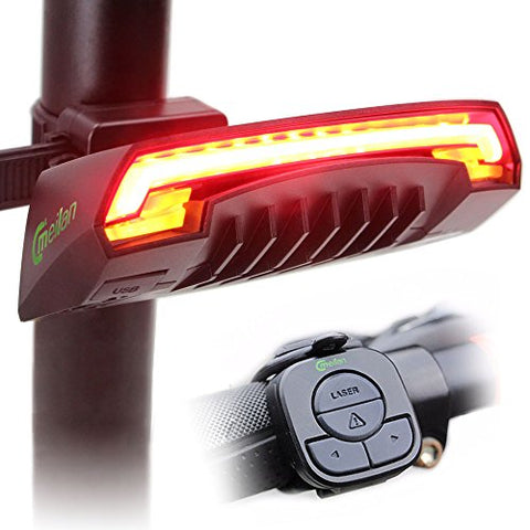 Meilan Smart Bike Tail Light X5 USB Rechargeable with Wireless Remote Turn signals Laser Beams for Moutain Bike,BMX Bike,Road Bicycle and Hybrid Bike 85 Lumens