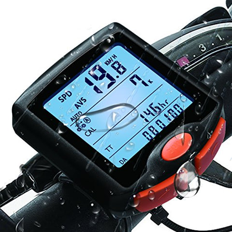 Bike Computer, Waterproof Multifunction Cycling Speedometer with Backlit Display, 60g Wireless Multi Functional Bicycle Odometer (Black)