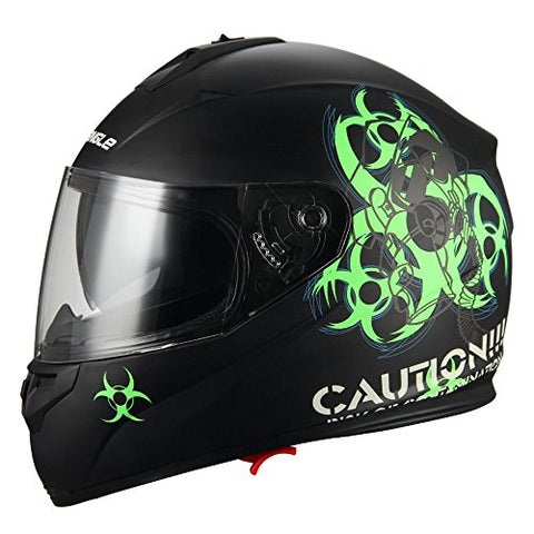 """Biohazard"" Full Face Matte Green Dual Visor Street Bike Motorcycle Helmet by Triangle [DOT] (Small)"