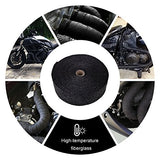 HM&FC Black Fiberglass Exhaust Header Pipe Wrap 50 Ft (L) * 2 In (W)*0.06 In (T)
