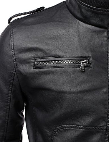 41504fc8c92f ... IDARBI Mens Long Sleeve Premium Stand Collar Zip Up Faux Leather Jacket  ...