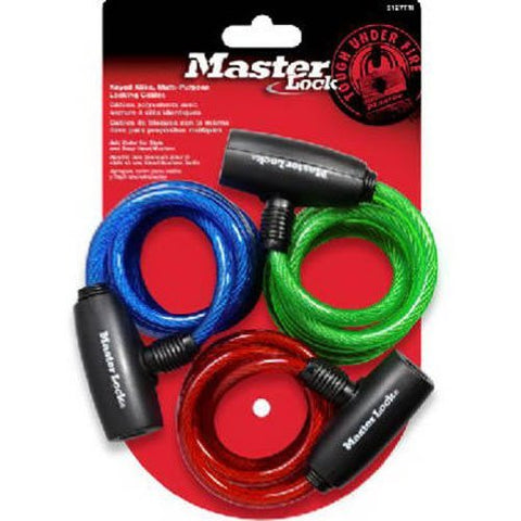 Master Lock Cable Lock, Keyed Bike Lock, 6 ft. Long, Color Assortment Pack, 8127TRI (Pack of 3-Keyed Alike)