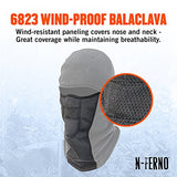 N-Ferno 6823 Thermal Fleece Wind-Resistant Hinged Balaclava, Black