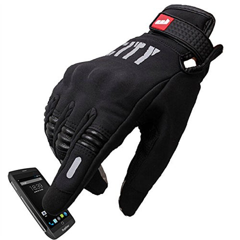 Madbike Stealth Hard Knuckle Motorcycle Gloves Touch Screen Motorbike Powersports Racing Tactical Paintball Black (M)