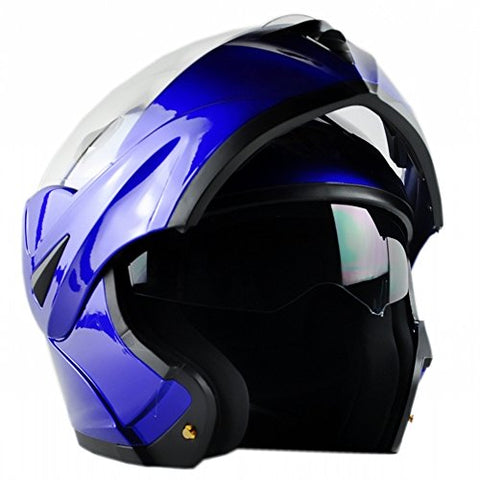 ILM 10 Colors Motorcycle Flip up Modular Helmet DOT (S, Blue)