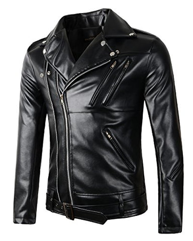 New Mens Causal Belted Design Slim Pu Leather Biker Zipper Jacket Coat