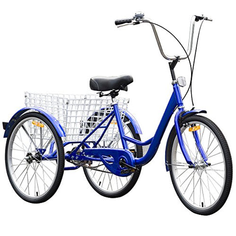 Goplus Adult Tricycle 3-Wheel Bicycle Bike Single Speed Seat Adjustable Trike w/ Bell Brake Basket