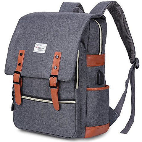 Modoker Vintage Laptop Backpack With USB Charging Port Lightweight School College Bag Bookbag Rucksack Fits 15-inch Notebook, Grey