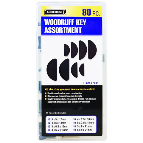 80 Piece Woodruff Key Assortment