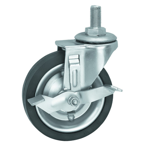 4 in. Hard Rubber Heavy Duty Swivel Caster with Brake