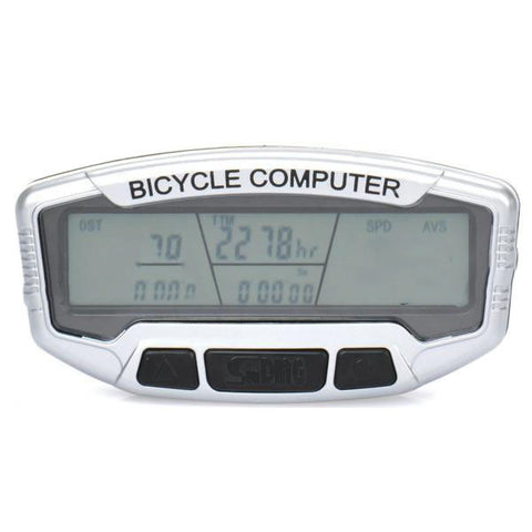 "Sunding 2.8"" LCD Electronic Bike Bicycle Speedometer - Black + Silver (SFLV)"